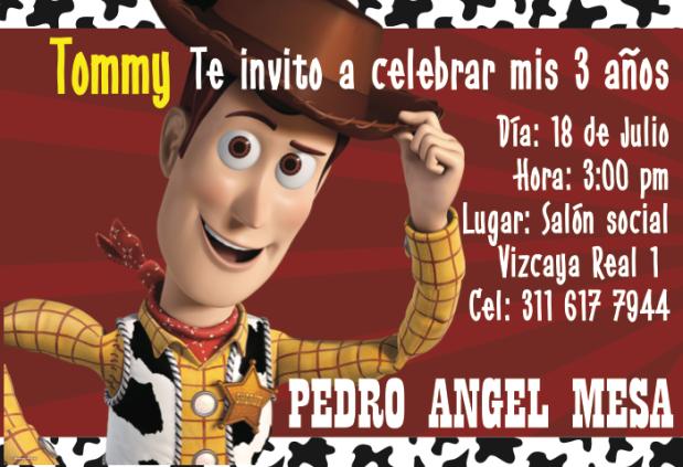 Invitación fiesta Woody